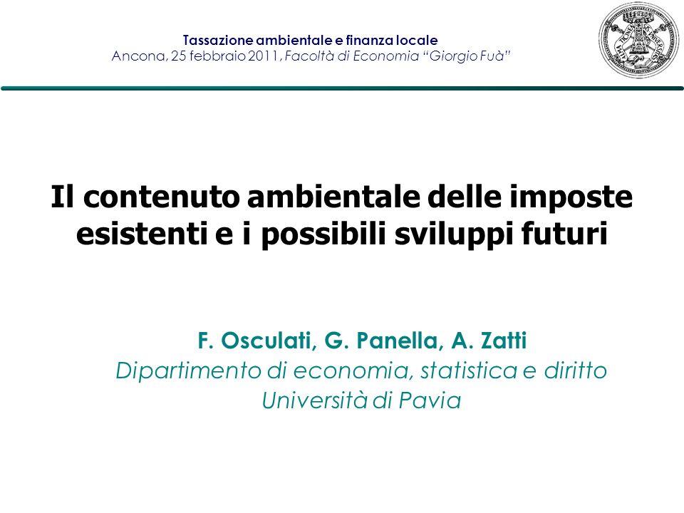 F. Osculati, G. Panella, A. Zatti Dipartimento di economia, statistica e diritto Università di Pavia Il contenuto ambientale delle imposte esistenti e