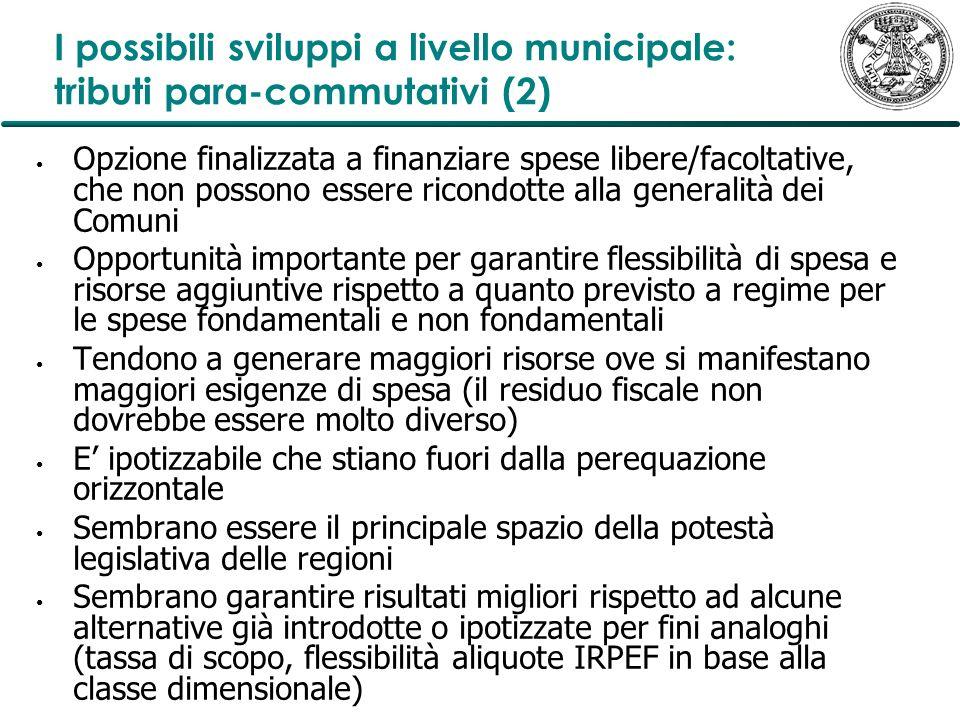 I possibili sviluppi a livello municipale: tributi para-commutativi (2) Opzione finalizzata a finanziare spese libere/facoltative, che non possono ess