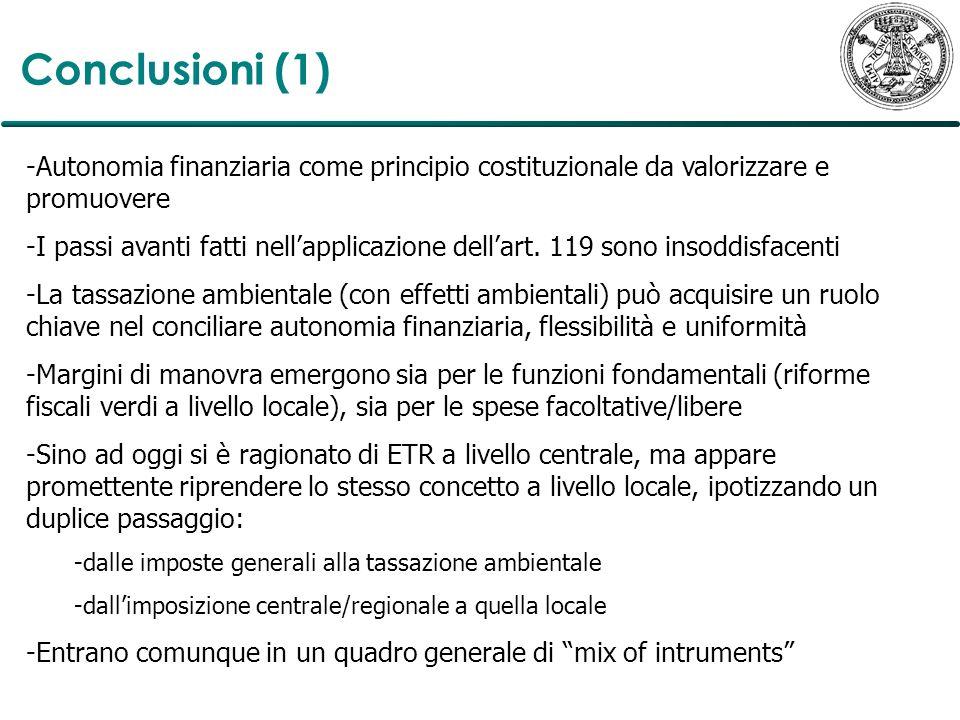Conclusioni (1) -Autonomia finanziaria come principio costituzionale da valorizzare e promuovere -I passi avanti fatti nellapplicazione dellart. 119 s