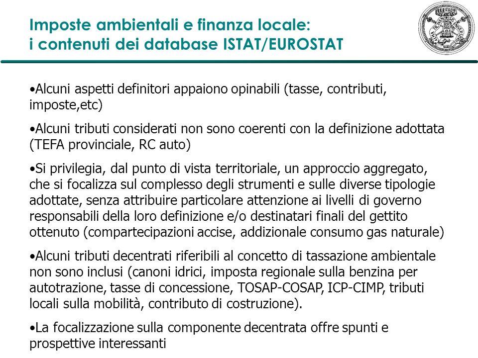 Imposte ambientali e finanza locale: i contenuti dei database ISTAT/EUROSTAT Alcuni aspetti definitori appaiono opinabili (tasse, contributi, imposte,