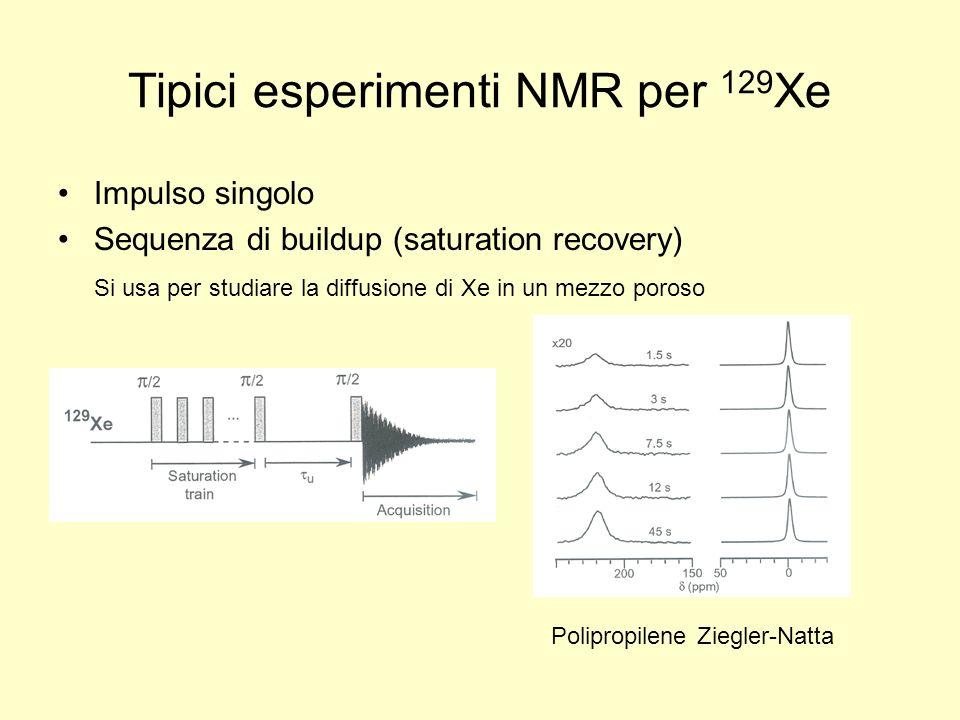 Tipici esperimenti NMR per 129 Xe Impulso singolo Sequenza di buildup (saturation recovery) Si usa per studiare la diffusione di Xe in un mezzo poroso