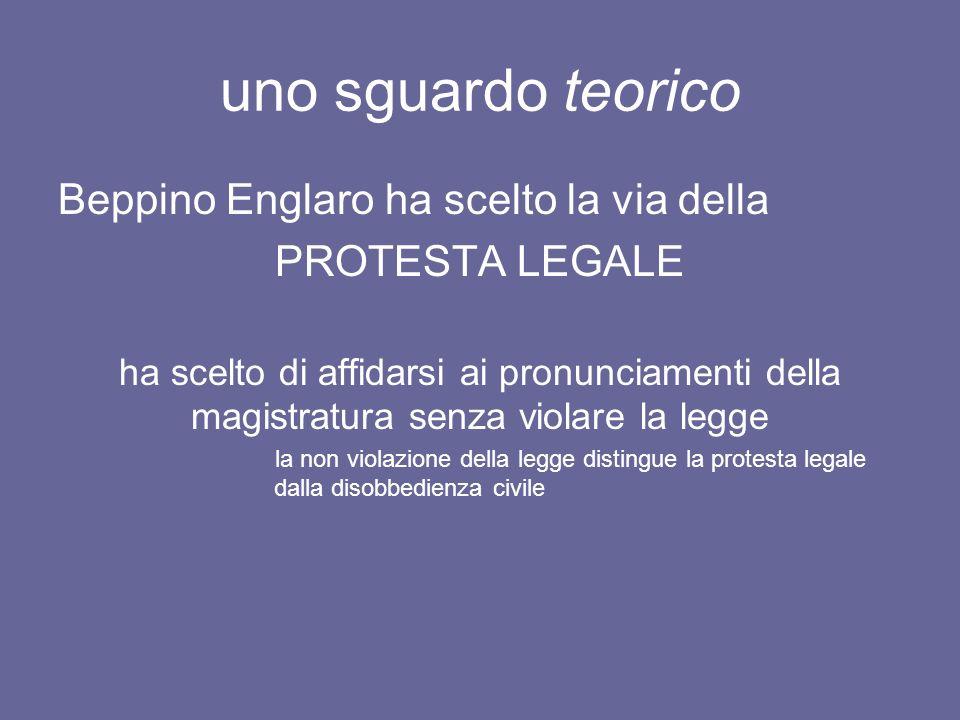 uno sguardo teorico Beppino Englaro ha scelto la via della PROTESTA LEGALE ha scelto di affidarsi ai pronunciamenti della magistratura senza violare l