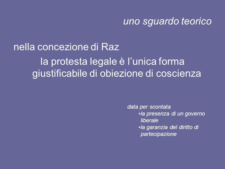 uno sguardo teorico nella concezione di Raz la protesta legale è lunica forma giustificabile di obiezione di coscienza data per scontata la presenza d