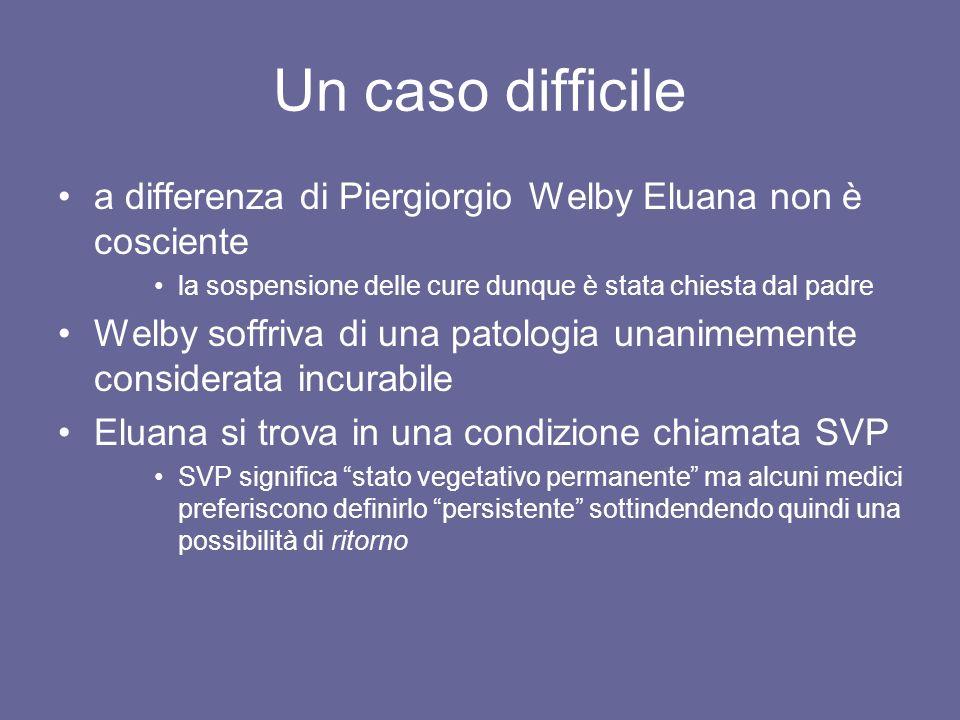 Un caso difficile a differenza di Piergiorgio Welby Eluana non è cosciente la sospensione delle cure dunque è stata chiesta dal padre Welby soffriva d