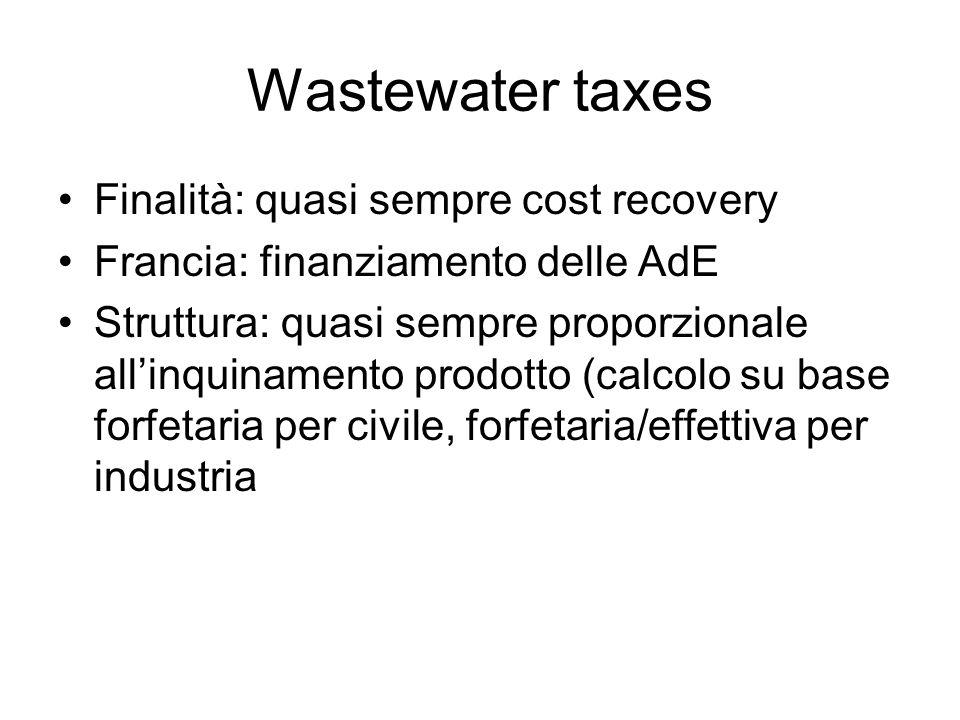 Wastewater taxes Finalità: quasi sempre cost recovery Francia: finanziamento delle AdE Struttura: quasi sempre proporzionale allinquinamento prodotto