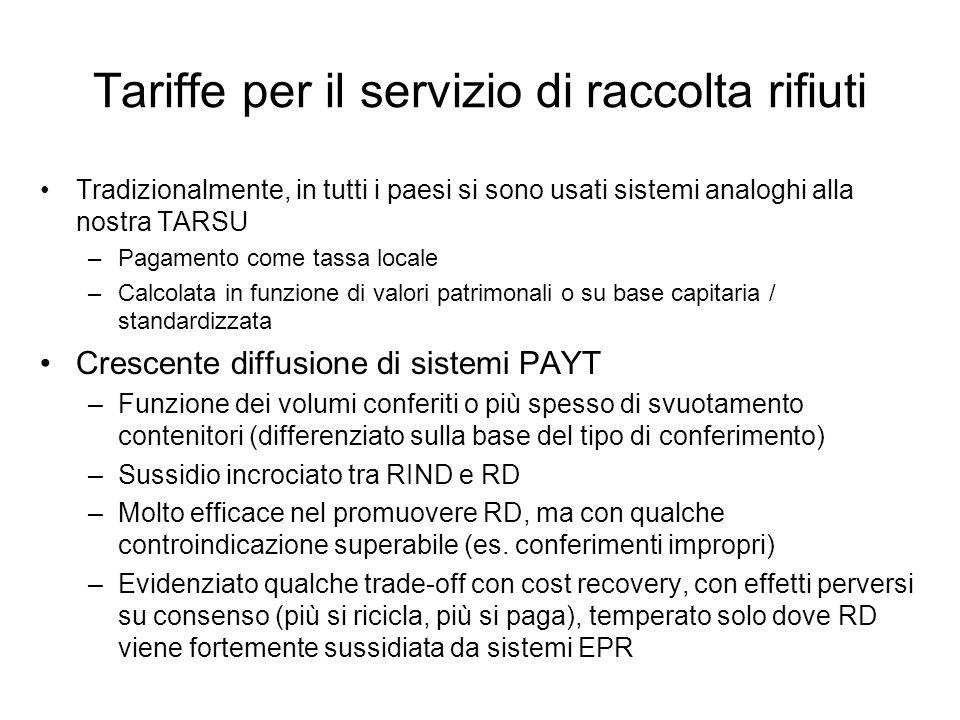 Tariffe per il servizio di raccolta rifiuti Tradizionalmente, in tutti i paesi si sono usati sistemi analoghi alla nostra TARSU –Pagamento come tassa