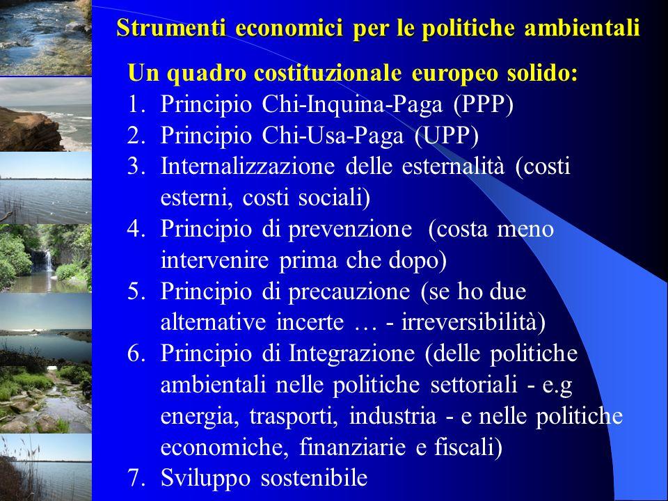 Strumenti economici per le politiche ambientali Un quadro costituzionale europeo solido: 1.Principio Chi-Inquina-Paga (PPP) 2.Principio Chi-Usa-Paga (