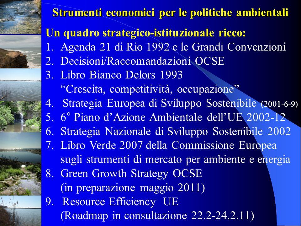 Strumenti economici per le politiche ambientali Un quadro strategico-istituzionale ricco: 1.Agenda 21 di Rio 1992 e le Grandi Convenzioni 2.Decisioni/