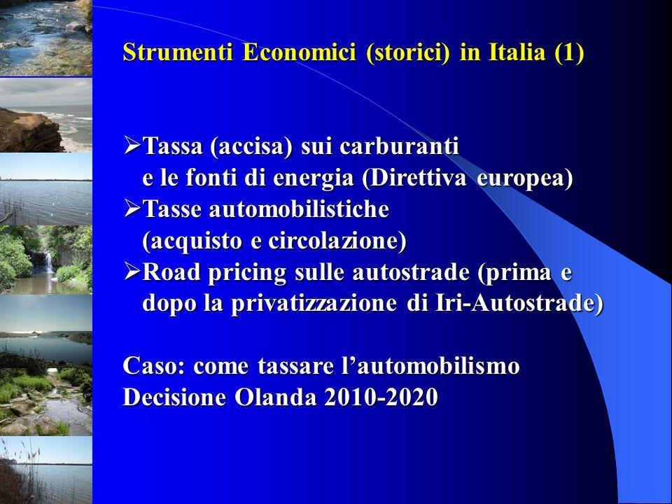 Strumenti Economici (storici) in Italia (1) Tassa (accisa) sui carburanti Tassa (accisa) sui carburanti e le fonti di energia (Direttiva europea) Tass