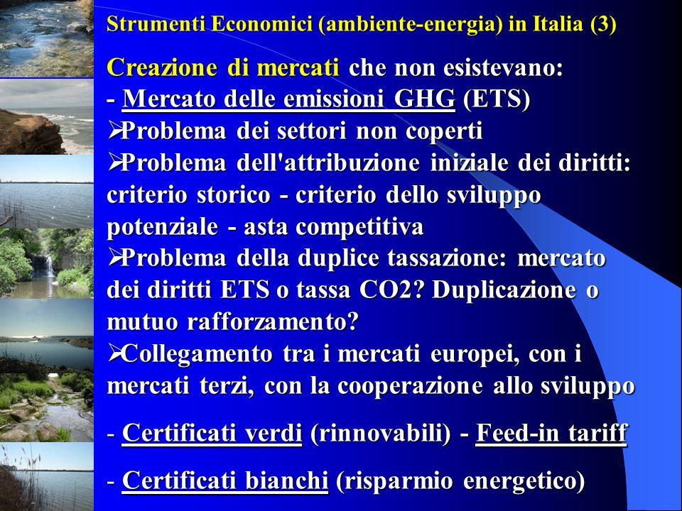 Strumenti Economici (ambiente-energia) in Italia (3) Creazione di mercati che non esistevano: - Mercato delle emissioni GHG (ETS) Problema dei settori