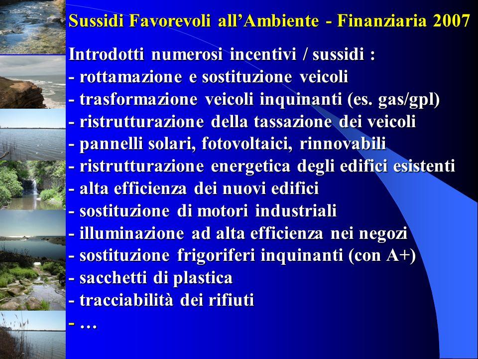 Sussidi Favorevoli allAmbiente - Finanziaria 2007 Introdotti numerosi incentivi / sussidi : - rottamazione e sostituzione veicoli - trasformazione vei