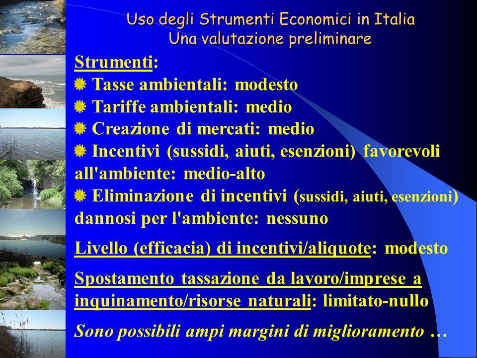 Uso degli Strumenti Economici in Italia Una valutazione preliminare Strumenti: Tasse ambientali: modesto Tariffe ambientali: medio Creazione di mercat