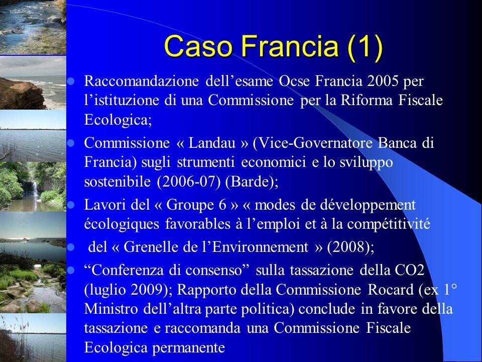 Caso Francia (1) Raccomandazione dellesame Ocse Francia 2005 per listituzione di una Commissione per la Riforma Fiscale Ecologica; Commissione « Landa