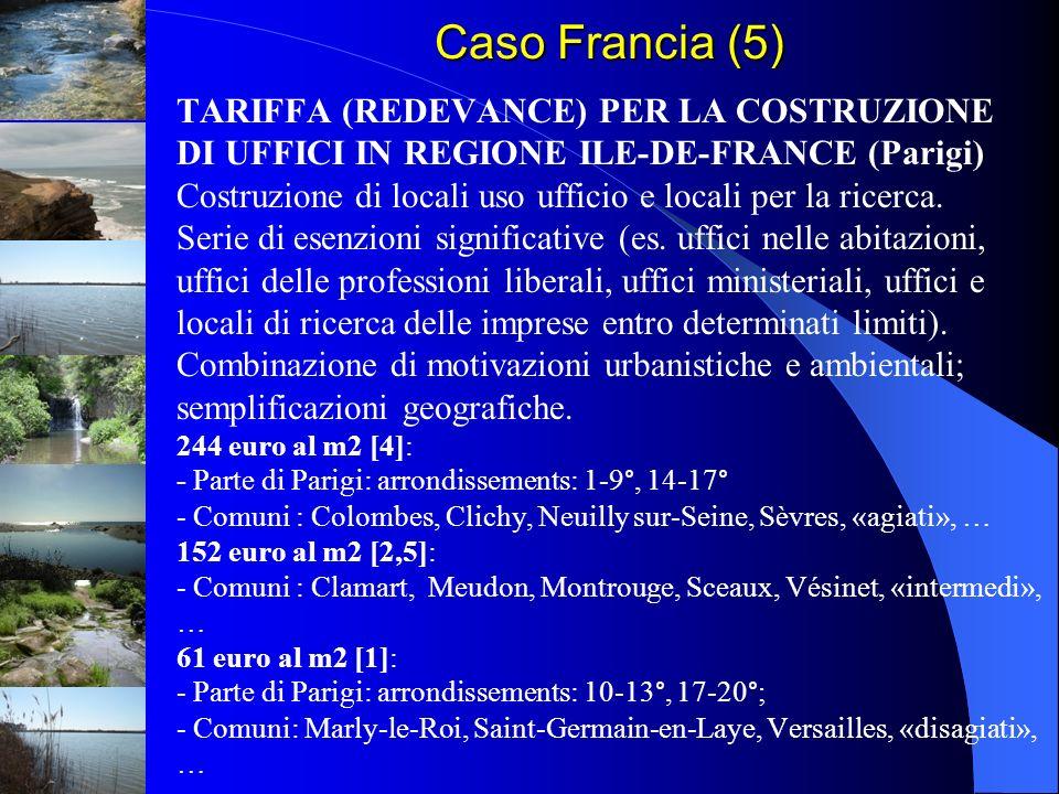TARIFFA (REDEVANCE) PER LA COSTRUZIONE DI UFFICI IN REGIONE ILE-DE-FRANCE (Parigi) Costruzione di locali uso ufficio e locali per la ricerca. Serie di