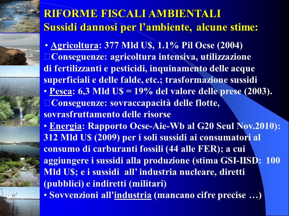 RIFORME FISCALI AMBIENTALI Sussidi dannosi per lambiente, alcune stime: Agricoltura: 377 Mld U$, 1.1% Pil Ocse (2004) Conseguenze: agricoltura intensi