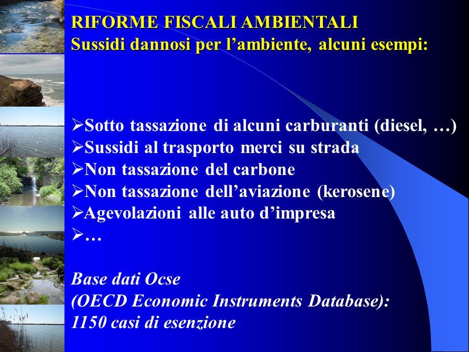 RIFORME FISCALI AMBIENTALI Sussidi dannosi per lambiente, alcuni esempi: Sotto tassazione di alcuni carburanti (diesel, …) Sussidi al trasporto merci