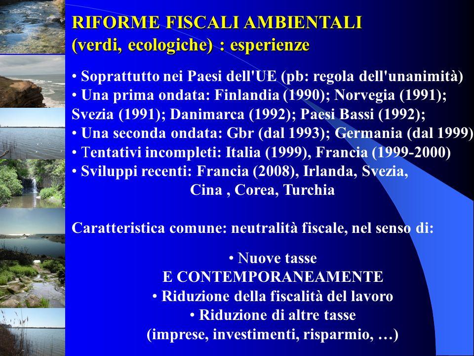 RIFORME FISCALI AMBIENTALI (verdi, ecologiche) : esperienze Soprattutto nei Paesi dell'UE (pb: regola dell'unanimità) Una prima ondata: Finlandia (199