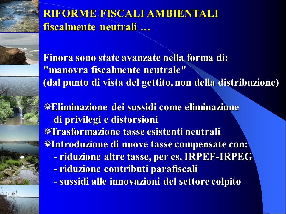 RIFORME FISCALI AMBIENTALI fiscalmente neutrali … Finora sono state avanzate nella forma di: