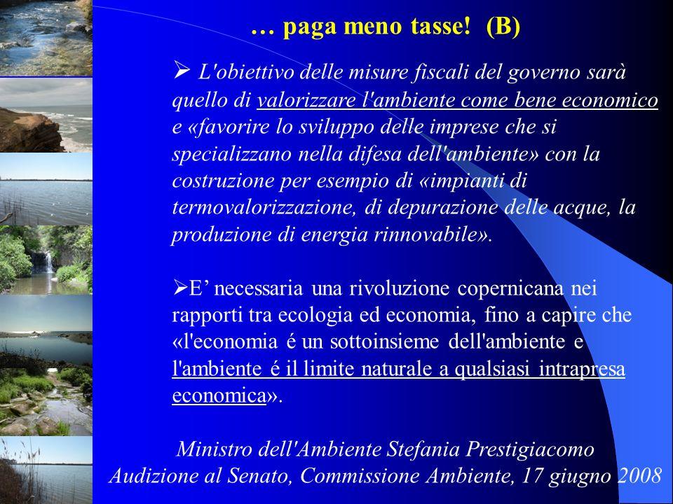 … paga meno tasse! (B) L'obiettivo delle misure fiscali del governo sarà quello di valorizzare l'ambiente come bene economico e «favorire lo sviluppo