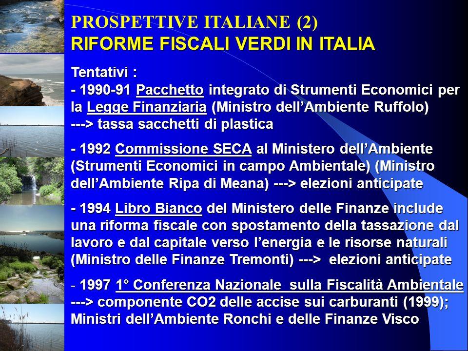PROSPETTIVE ITALIANE (2) RIFORME FISCALI VERDI IN ITALIA Tentativi : - 1990-91 Pacchetto integrato di Strumenti Economici per la Legge Finanziaria (Mi