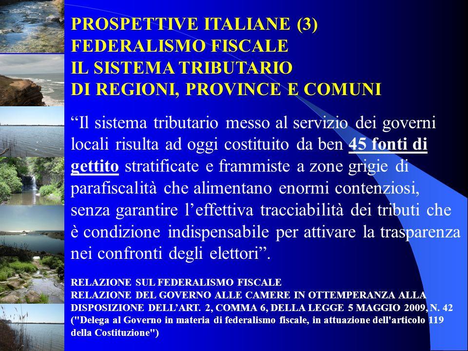 PROSPETTIVE ITALIANE (3) FEDERALISMO FISCALE IL SISTEMA TRIBUTARIO DI REGIONI, PROVINCE E COMUNI Il sistema tributario messo al servizio dei governi l