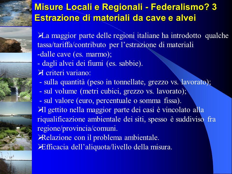 Misure Locali e Regionali - Federalismo? 3 Estrazione di materiali da cave e alvei La maggior parte delle regioni italiane ha introdotto qualche tassa