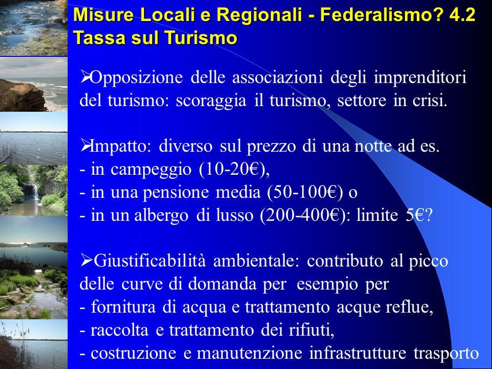 Misure Locali e Regionali - Federalismo? 4.2 Tassa sul Turismo Opposizione delle associazioni degli imprenditori del turismo: scoraggia il turismo, se