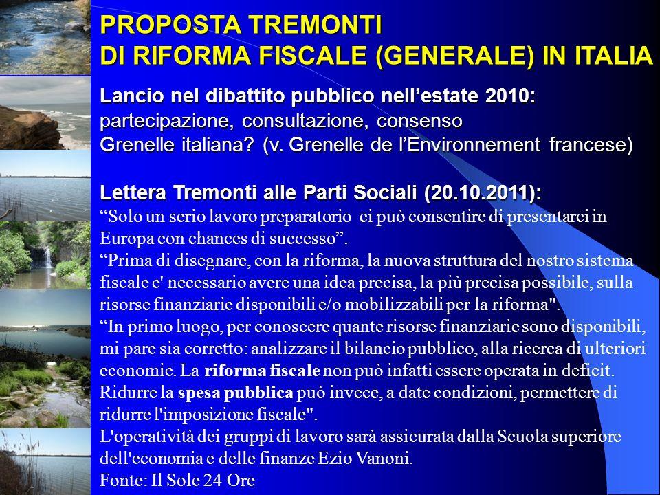 PROPOSTA TREMONTI DI RIFORMA FISCALE (GENERALE) IN ITALIA Lancio nel dibattito pubblico nellestate 2010: partecipazione, consultazione, consenso Grene