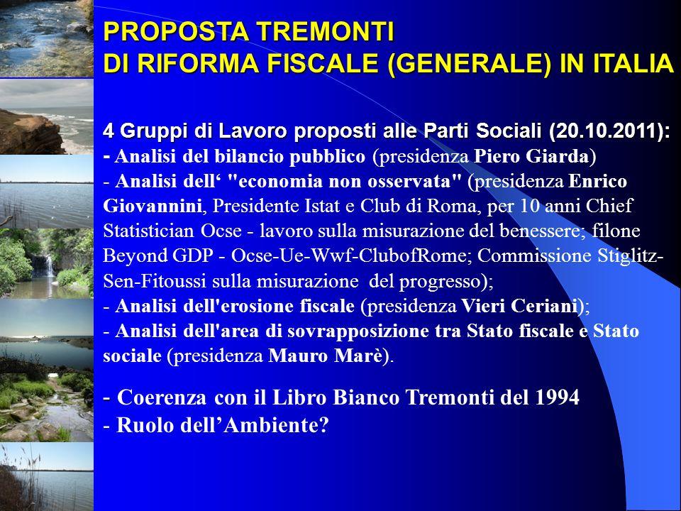 PROPOSTA TREMONTI DI RIFORMA FISCALE (GENERALE) IN ITALIA 4 Gruppi di Lavoro proposti alle Parti Sociali (20.10.2011): 4 Gruppi di Lavoro proposti all