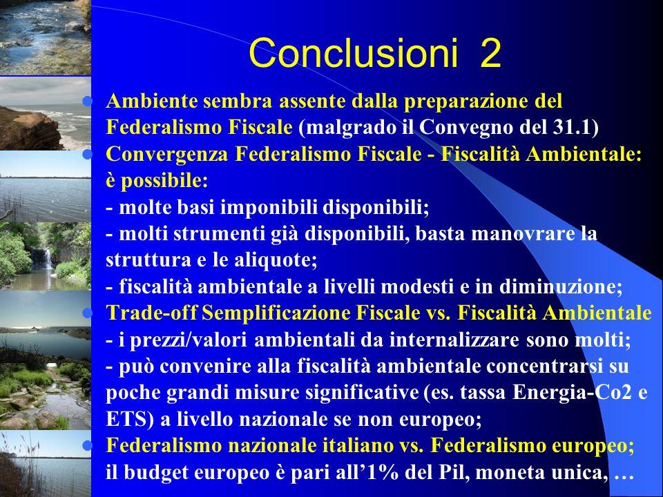 Ambiente sembra assente dalla preparazione del Federalismo Fiscale (malgrado il Convegno del 31.1) Convergenza Federalismo Fiscale - Fiscalità Ambient