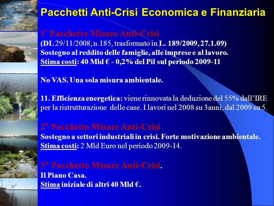 Pacchetti Anti-Crisi Economica e Finanziaria 1 ° Pacchetto Misure Anti-Crisi (DL 29/11/2008, n.185, trasformato in L. 189/2009, 27.1.09) Sostegno al r