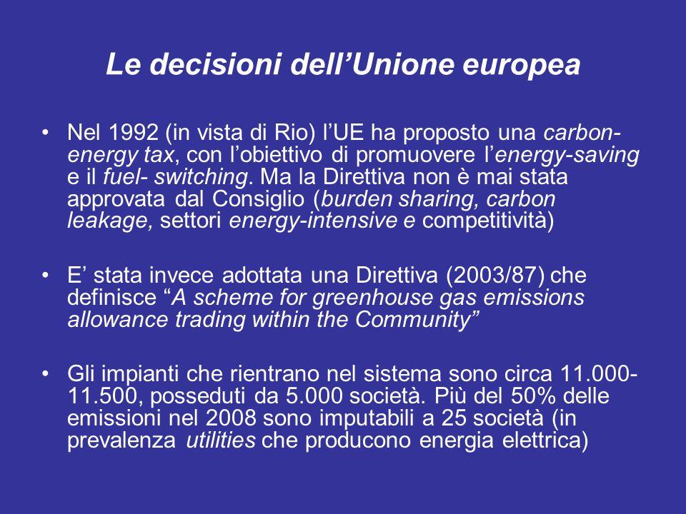 Le decisioni dellUnione europea Nel 1992 (in vista di Rio) lUE ha proposto una carbon- energy tax, con lobiettivo di promuovere lenergy-saving e il fuel- switching.