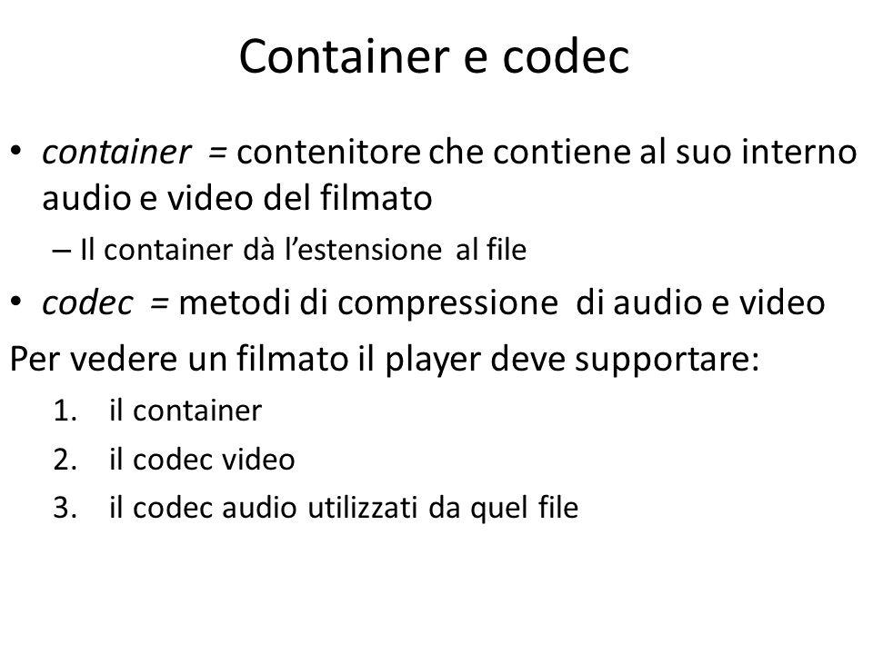 Container FLV (.FLV – FLash Video) è il container usato per distribuire video compressi in MPEG con il Player o Plug-in (nel browser) Flash AVI (.AVI – Audio Video Interleave) è il container standard per il multimedia di Windows MOV (.MOV) è il container sviluppato da Apple per QuickTime MPEG-4 Part 14 (.MP4) è il container standard per i file compressi in MPEG-4 VOB (.VOB), DVD Video Object, è il container standard dei DVD