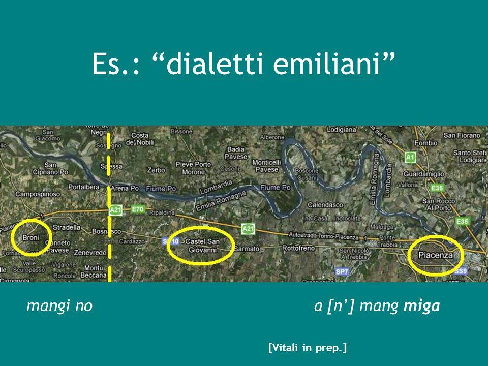 Es.: dialetti emiliani mangi noa [n] mang miga [Vitali in prep.]