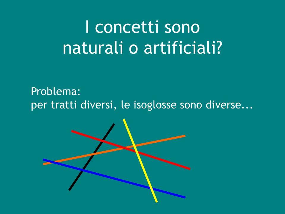 Problema: per tratti diversi, le isoglosse sono diverse... I concetti sono naturali o artificiali?