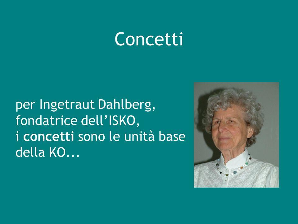Concetti per Ingetraut Dahlberg, fondatrice dellISKO, i concetti sono le unità base della KO...