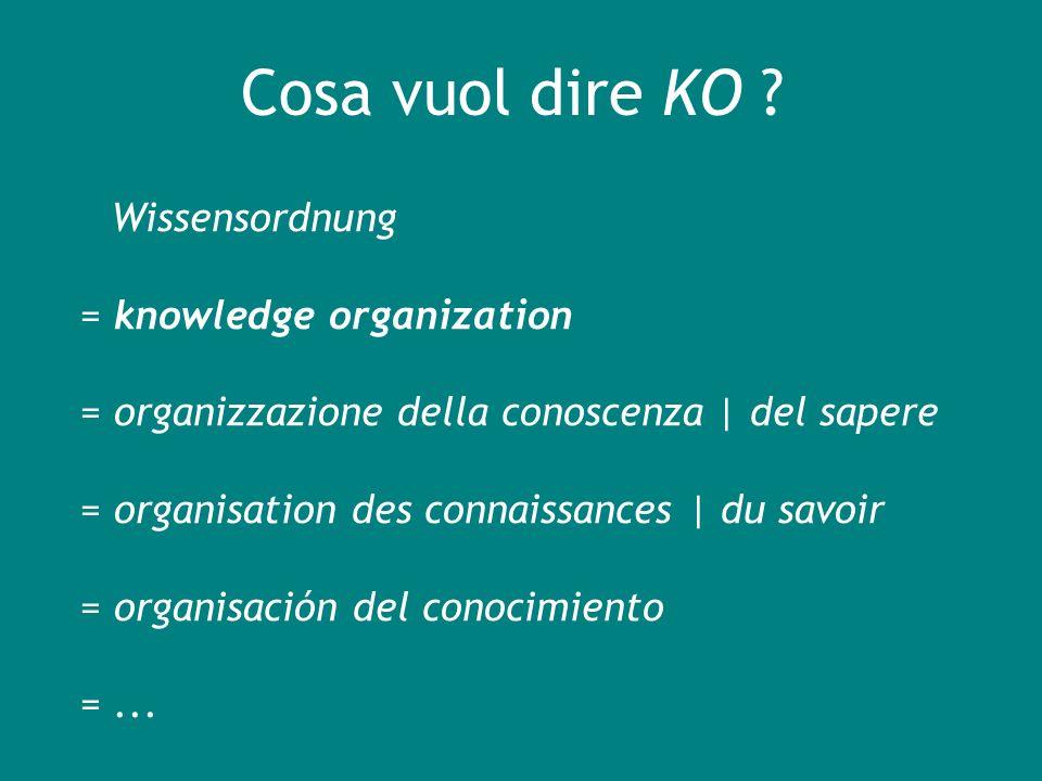 Cosè la KO Interesse per il contenuto degli oggetti di conoscenza (indicizzazione semantica più che descrittiva) KO KM (gestione della conoscenza) KO KR (rappresentazione della conoscenza)