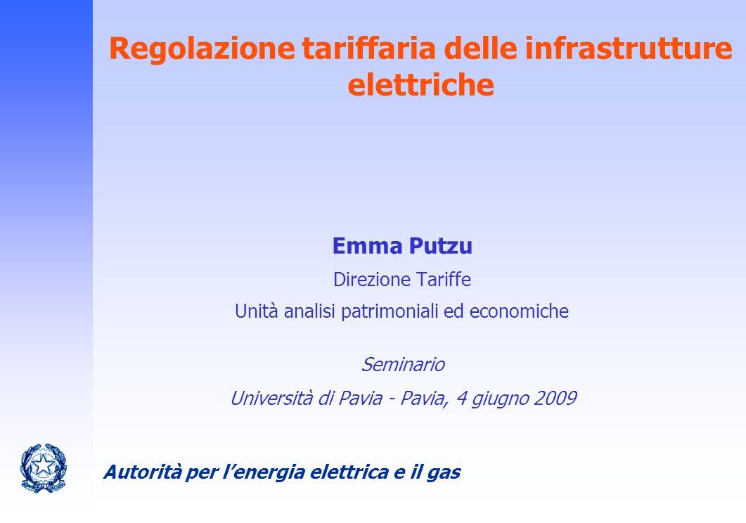 Autorità per lenergia elettrica e il gas 2 Indice I riferimenti normativi La determinazione delle tariffe: i criteri generali La regolazione tariffaria del settore elettrico