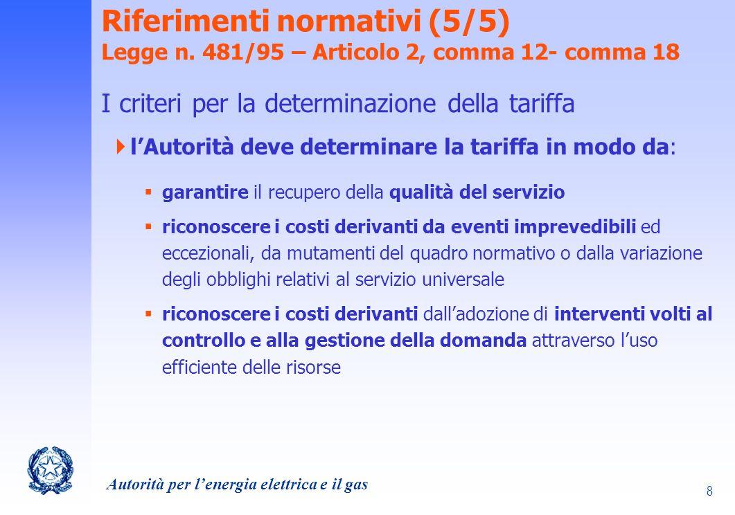 Autorità per lenergia elettrica e il gas 9 Quali tariffe in un mercato libero DPCM 31 ottobre 2002 Pone criteri generali integrativi ai criteri stabiliti dallarticolo 3, commi 2 e 5, della legge 14 novembre 1995, n.