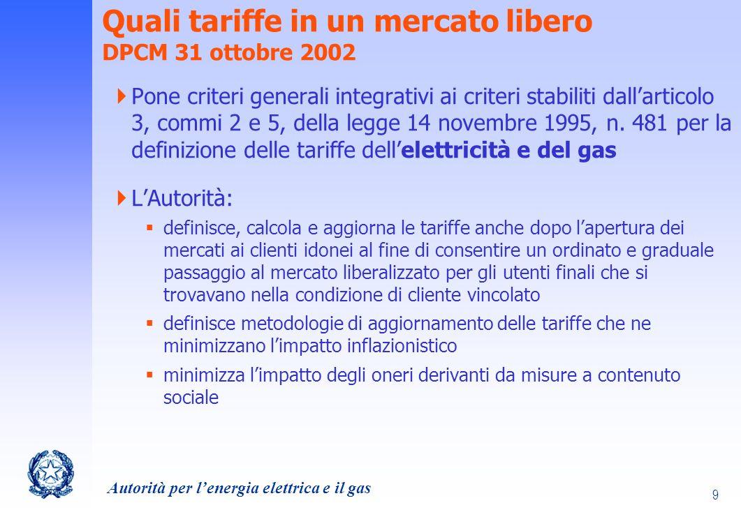 Autorità per lenergia elettrica e il gas 30 La regolazione tariffaria del settore elettrico: riferimenti normativi Legge 14 novembre 1995, n.