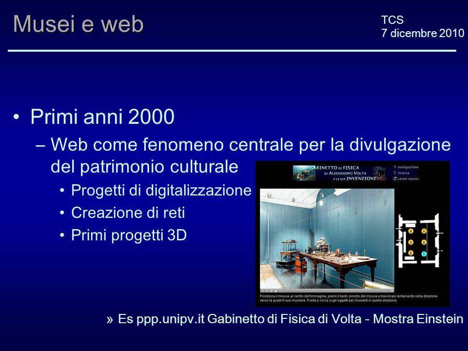 TCS 7 dicembre 2010 Musei e web Primi anni 2000 –Web come fenomeno centrale per la divulgazione del patrimonio culturale Progetti di digitalizzazione Creazione di reti Primi progetti 3D »Es ppp.unipv.it Gabinetto di Fisica di Volta - Mostra Einstein
