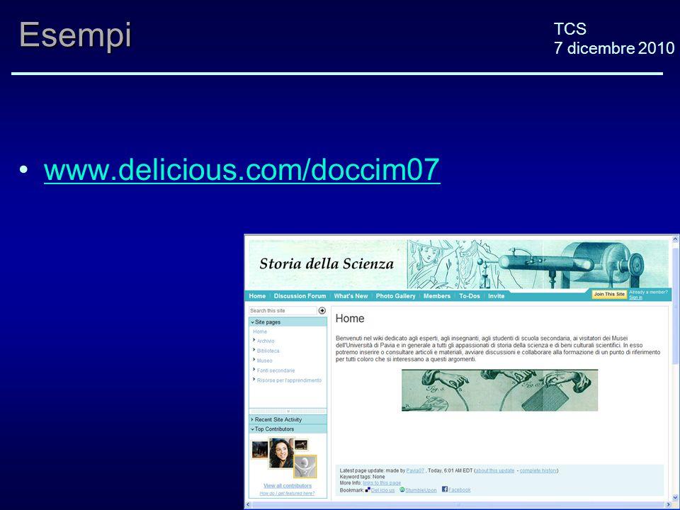 TCS 7 dicembre 2010Esempi www.delicious.com/doccim07