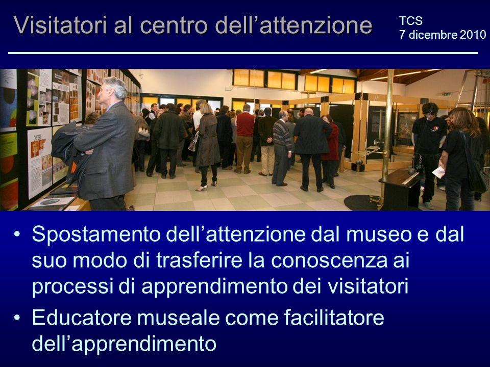 TCS 7 dicembre 2010 Visitatori al centro dellattenzione Spostamento dellattenzione dal museo e dal suo modo di trasferire la conoscenza ai processi di