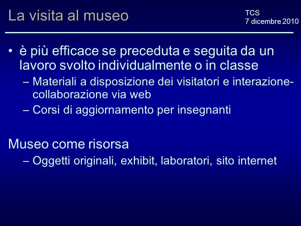 TCS 7 dicembre 2010 La visita al museo è più efficace se preceduta e seguita da un lavoro svolto individualmente o in classe –Materiali a disposizione
