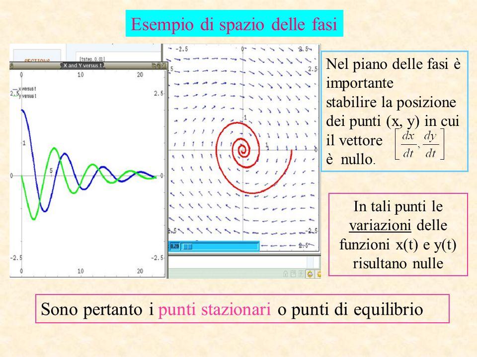 Esempio di spazio delle fasi Nel piano delle fasi è importante stabilire la posizione dei punti (x, y) in cui il vettore è nullo. In tali punti le var