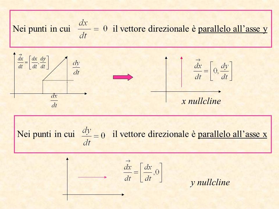 Nei punti in cui il vettore direzionale è parallelo allasse x y nullcline Nei punti in cui il vettore direzionale è parallelo allasse y x nullcline