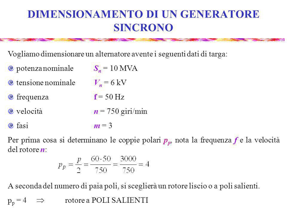 DIMENSIONAMENTO PRELIMINARE Per il dimensionamento preliminare si utilizzano diagrammi empirici che forniscono il coefficiente di dimensionamento c d che lega il volume al traferro alla coppia : Questi diagrammi empirici sono validi per cos 0,8 e frequenze f = 50 60 Hz e forniscono il valore di c d in funzione del rapporto S n /p.