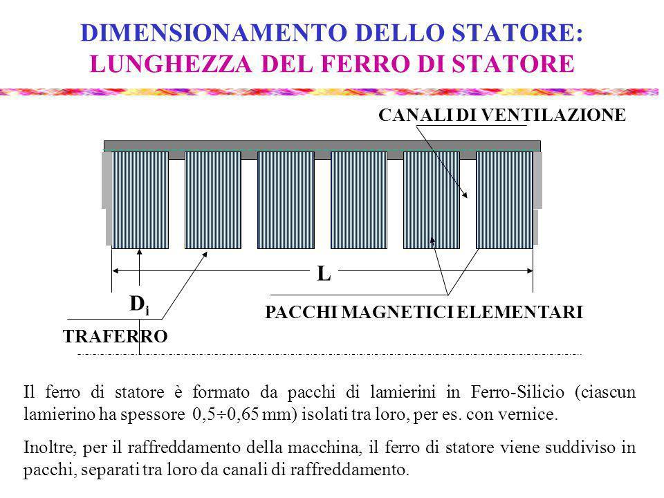 DIMENSIONAMENTO DELLO STATORE: LUNGHEZZA DEL FERRO DI STATORE Il ferro di statore è formato da pacchi di lamierini in Ferro-Silicio (ciascun lamierino ha spessore 0,5 0,65 mm) isolati tra loro, per es.