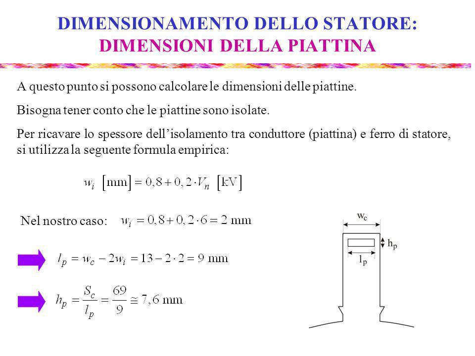 DIMENSIONAMENTO DELLO STATORE: DIMENSIONI DELLA PIATTINA A questo punto si possono calcolare le dimensioni delle piattine.