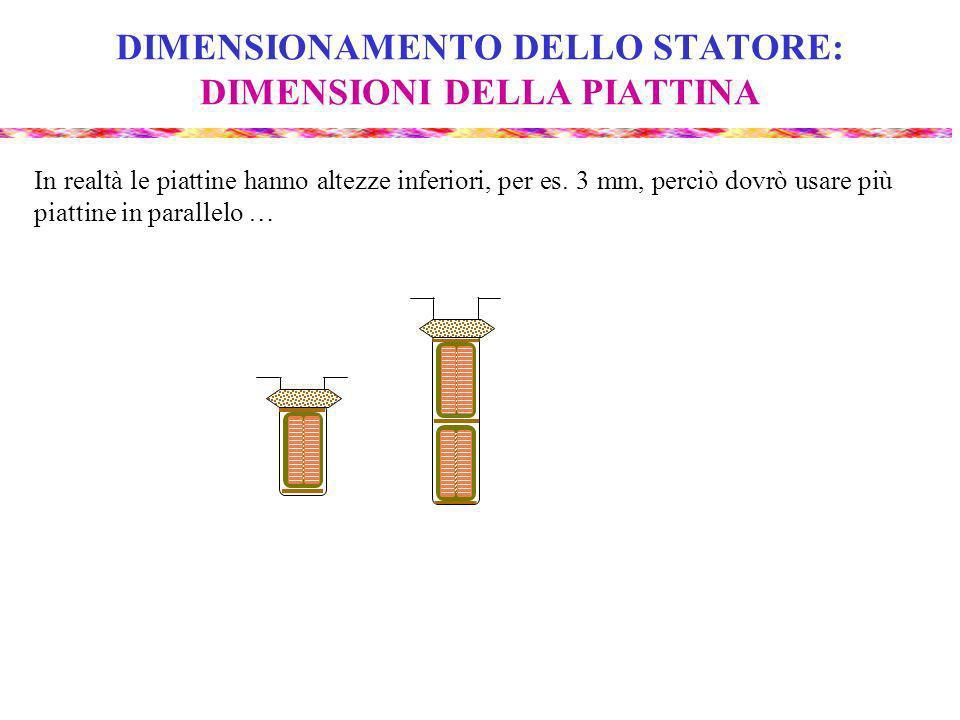 DIMENSIONAMENTO DELLO STATORE: DIMENSIONI DELLA PIATTINA In realtà le piattine hanno altezze inferiori, per es.